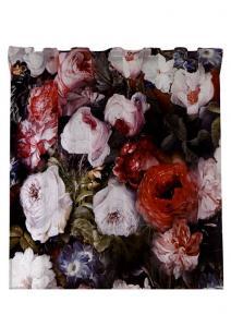 Gardinlängd Monroe i sammet med vackra multifärgade blommor