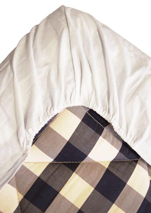 Dra-på-lakan i bomullsatin i tre storlekar, vit