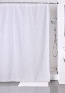 Duschdraperi med Paisley mönster, vitt på vitt