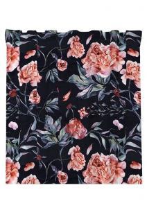 Gardinlängd Peony, sammetslängd med vackra rosa blommor på svart botten