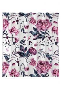 Gardinlängd Peony, sammetslängd med vackra rosa blommor på vit botten