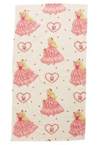 Frotté Prinsessa, söt handduk med prinsessor, vit bottenfärg