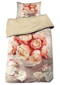 Bäddset Rosalba, ljuvligt stormönstrat digitaltryck, färg rosa