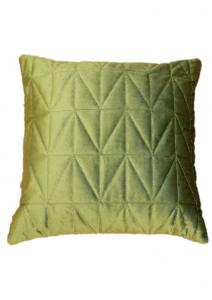 Kuddfodral Sammet quiltad, enfärgad, vårgrön