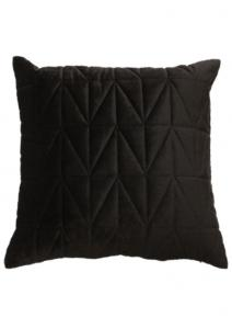 Kuddfodral Sammet quiltad, enfärgad, svart