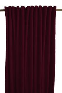 Gardinlängd Sammet, enfärgad med extra tyngd för vackert fall, vinröd