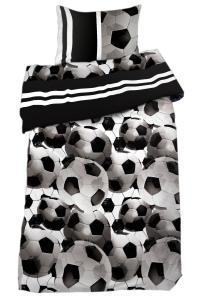 Bäddset Soccer, fotbollshav i färg svart/vit