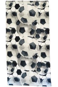 Frotté Soccer, fotbollar täcker denna fina handduk, svart/vit