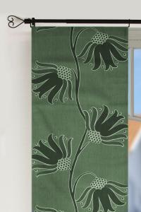Panellängd Topas, 2-pack. 70-talsinspirerade stora blommor, grön