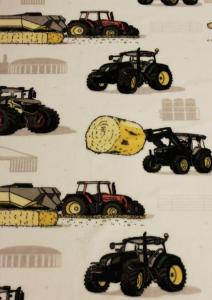 Pläd med traktorer i mjuk fleece, vit