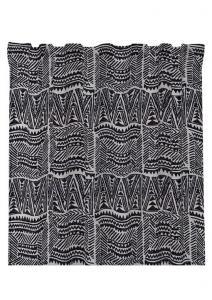 Gardinlängd Tunis 2-pack, Snyggt etniskt grafiskt mönster, grå/svart