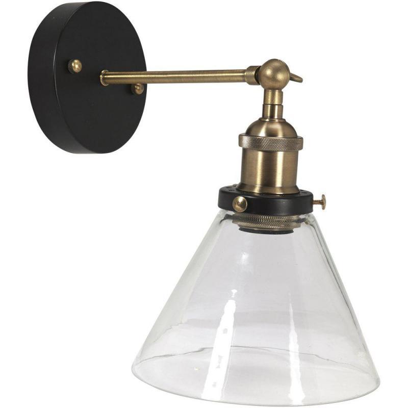 Vägglampa, LAMBDA, IP23-klassad för badrum, klarglas