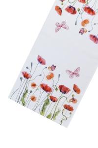 Bordlöpare Vallmo, somrigt motiv med röd vallmo och fjärilar, multi