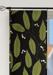 Panellängd, 2-pack. Vinterlöv, vackra gröna lövslingor med vita knoppar på svart botten
