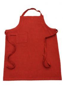 Förkläde Visby, enzymtvättad bomull, med ficka och ögla på ena sidan, röd