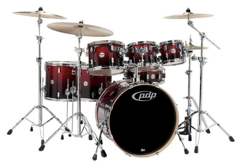 PDP by DW Drum set Concept Maple Red to Black Sparkle Fade