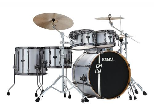 Superstar Custom Hyper-Drive DUO Kit, Satin Silver Vertical Stripe finish, Tama ML52HZBN2-SSV