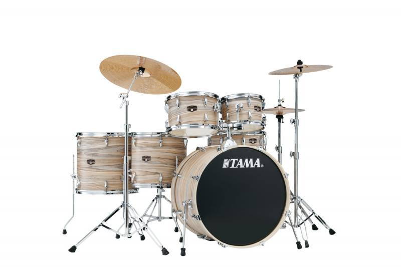 Tama Imperialstar komplett med stativ och cymbaler - Natural Zebrawood Wrap