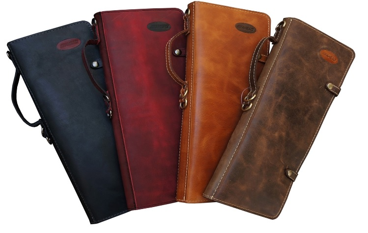 Ahead Tan Handmade Leather Stick Case w/Drum Key Holder