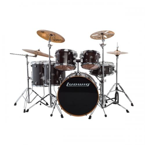 "Ludwig Evolution Maple 22"" Shell Pack - Trans Black"
