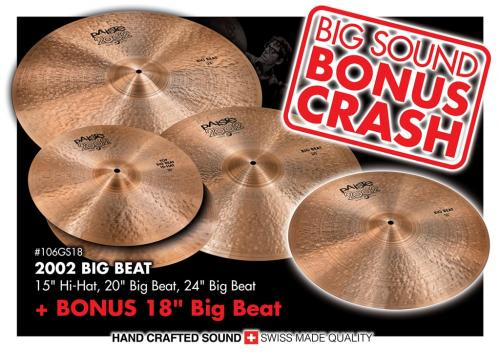 "Cymbalpaket - 2002 BIG BEAT 15"", 20"", 24"" + FREE 18"" Bonus Crash, Paiste"