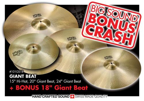 "Cymbalpaket - Giant Beat 15"", 20"", 24"" + FREE 18"" Bonus Crash, Paiste"