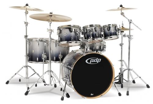 PDP Concept Maple, Silver to Black Sparkle, 7-delars set