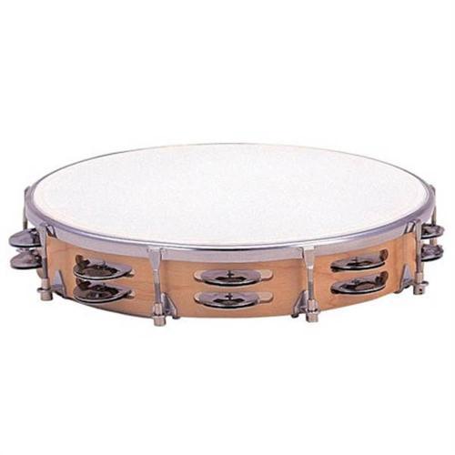 Dixon 10″ Tambourine Wood Tunable Plastic Head – 16 Jingle Pairs