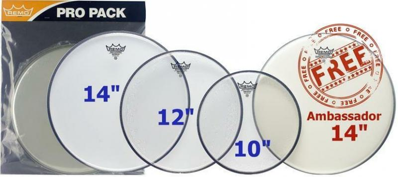 "Remo Ambassador Clear ProPack 10"", 12"", 14"" + 14"" Hazy"