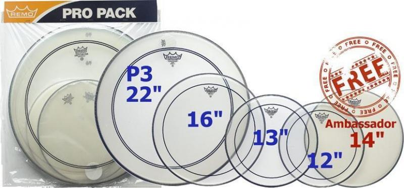 """Remo ProPack - 12"""" ,13"""" ,16"""" Pinstripe Clear + 22"""" Powerstroke 3 Clear + 14"""" Ambassador coated"""