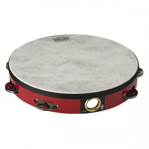 "Remo Tambourine 10"" Fiberskyn 3 - Single Row Red"