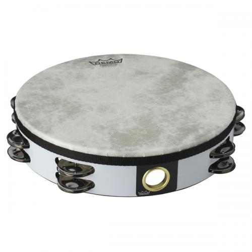 "Remo Tambourine 10"" Fiberskyn 3 - Double Row White"