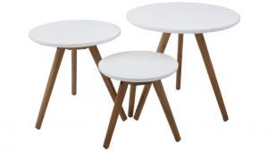 Triplets satsbord s/3, vit/ek-