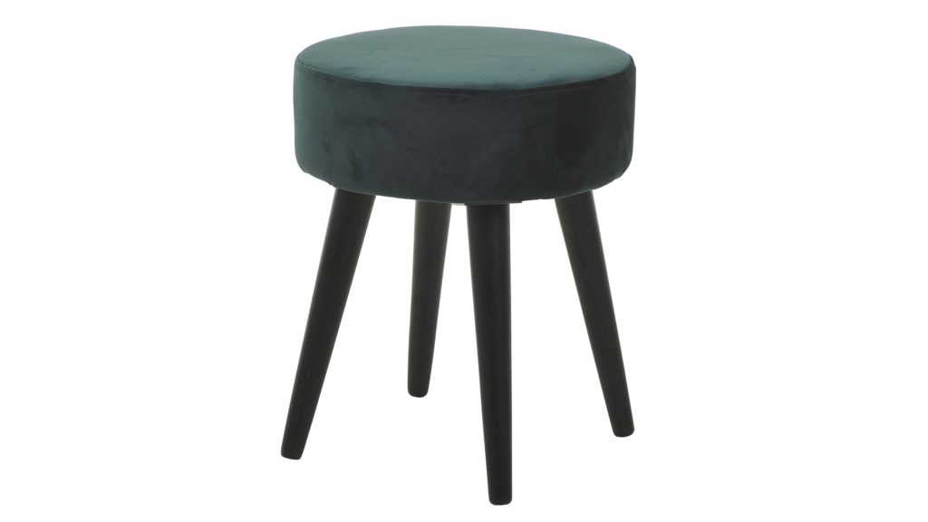 Tellus pall i grön velour/svarta ben