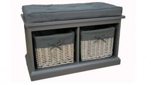 Max bänk, inkl sittdyna & korgar, grå-