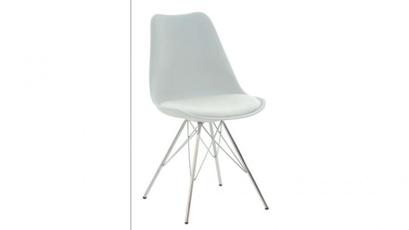 Base matstol i vit pp/pu/krom,
