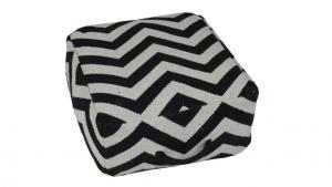 Zigzag puff med handtag, svart/vit