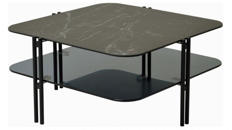 Sivan soffbord 80x80 svart keramik/glas