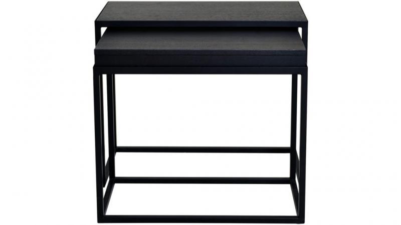 Duett sidobord set, rektangel, svart ask