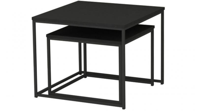 Duett sidobord set, fyrkant, svart ask