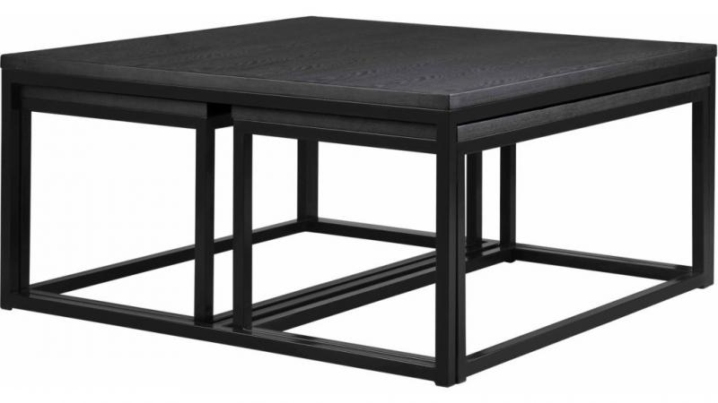 Acero soffbord set 2+1 svart ask