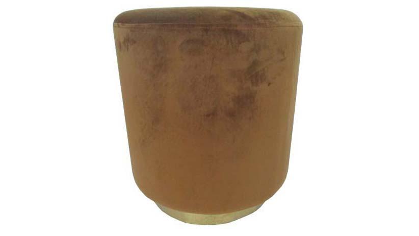 Lotus velourpuff, guld m metallkant