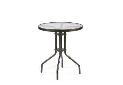 Alvdalen bord ø60 cm  mörkbrunt stål/glas