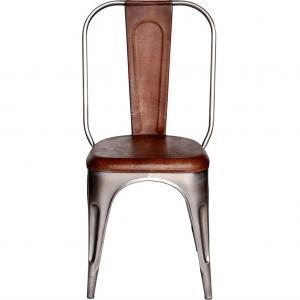 LIVING stol med hög rygg - glänsande med läder