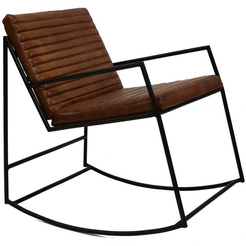 Tyler lounge gungstol med läder - brun