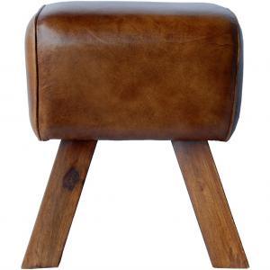 Lomborg liten sockel / pall med brunt läder