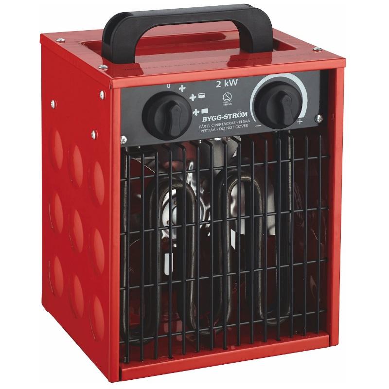 Värmefläkt, Byggfläkt 2KW, 230V, RÖD, IP44