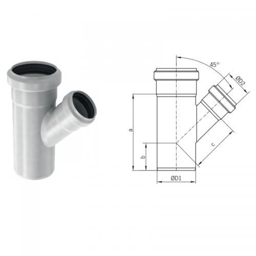 Aco Pipe Grenrör 110x75mm x 45° - 1450935