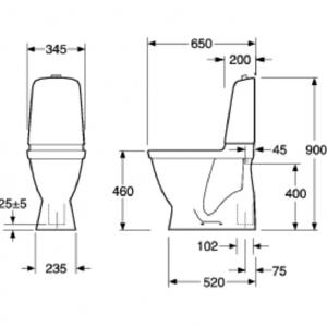 Gustavsberg Toalettstol Nautic 1546 C+ Hygienic Flush Dubbelspolning Förhöjd Modell Hårdsits