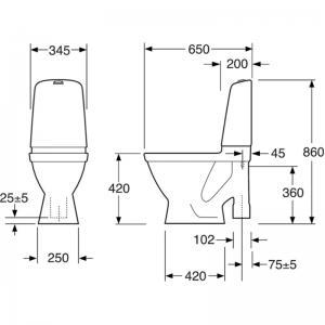 GBG WC Nautic 1591 HF Hygienic Flush 4 l, ROT, standardsits